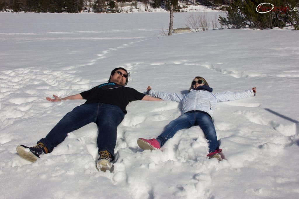 Chi-Fong and Terka making a snow angel